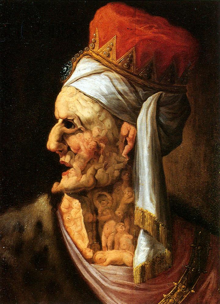 Арчимбольдо (атт.). Голова Ирода. 1580-е. (Обычно Арчимбольдо складывал лица из цветов и фруктов, но голову Ирода он слепил из трупиков младенцев).